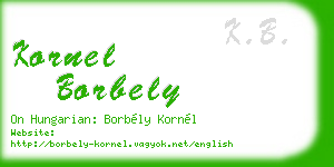 kornel borbely business card